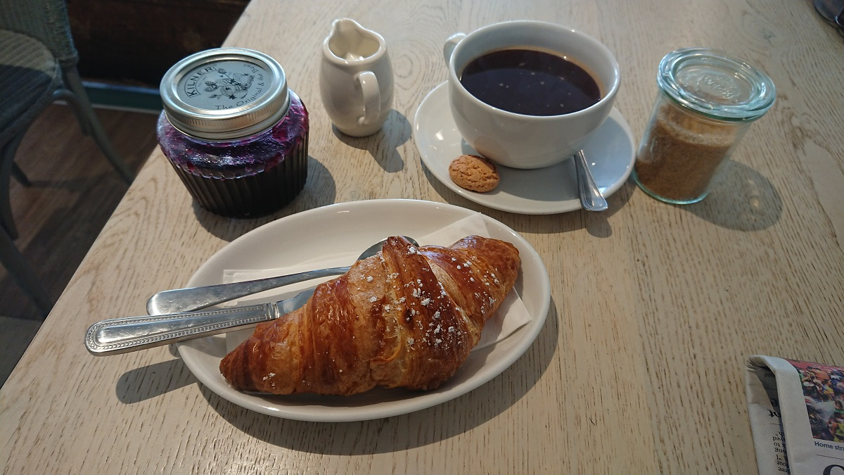 Coffee and croissant Driftwood Cafe