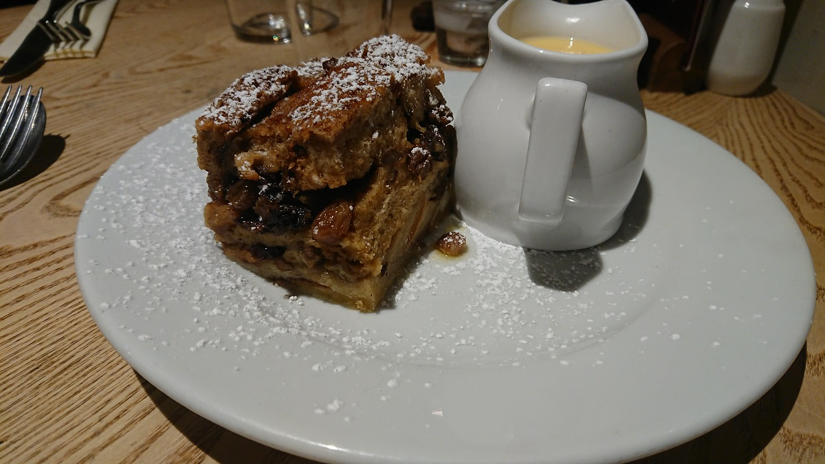Bread and butter pudding on English south coast